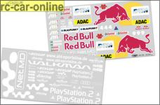 32201 Team-Dekorbogen Audi TT, Red Bull / Playstation