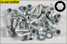 7058 FG Body screws with stop nuts, 15 pieces