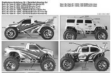 y0961 FG manuals set all 2WD monster + stadium cars except M